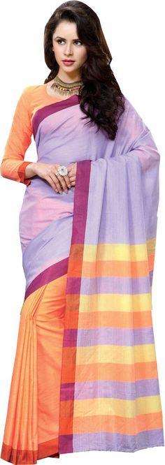 Purple Causal Wear Saree Printed Work Orange Skirt Cotton Sari #SareeStudio #SareeSari #CausalWear