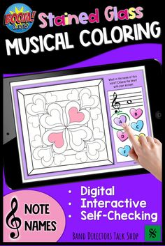Digital color by music activities are SO MUCH FUN! This set of Valentine's Day stained glass music coloring pages are a fun way to get your students excited about identifying music notes in the treble clef music staff. Boom cards are fun because they are self checking and completely interactive! Students love the instant feedback, as do music teachers. Great for distance learning and virtual music lessons as well as in person classes. These make fun valentines music activities and games! Music Theory Games, Music Theory Worksheets, Rhythm Games, Music Lessons For Kids, Music Lesson Plans, Music Teachers, Music Classroom, Music Education Quotes, Middle School Music