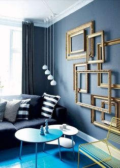 Empty Frames Design In Wall Home Decor Ideas Furniture, Room, Interior, Blue Rooms, Frames On Wall, Living Room Decor, Home Decor, House Interior, Interior Design