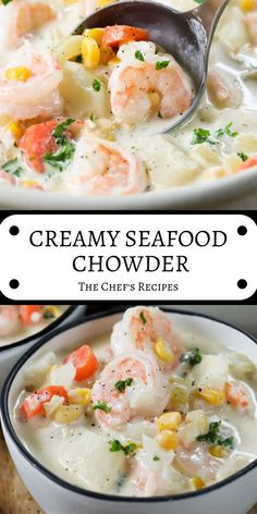 Creamy seafood chowder easy meals: skillet, crock-pot or 30 Seafood Soup Recipes, Seafood Stew, Chef Recipes, Seafood Dishes, Fish Recipes, Cooking Recipes, Healthy Recipes, Creamy Seafood Bisque Recipe, Shrimp Bisque