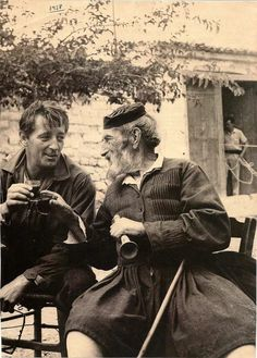 Robert Mitchum, drinking with his Greek friend Tselepis, in Arahova,near Athens, Greece, summer 1959 (during shootings of the film ''Angry Hills'').