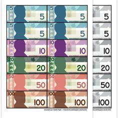 Fichiers PDF téléchargeables Versions en couleurs et en noir et blanc 1 page  Voici une feuille complète des représentations des billets canadiens. Vous pouvez utiliser les billets en mathématique ou pour l'achat de récompense.