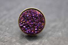 Big Druzy ring made with antiqued brass base and Purple, Metallic Pink, Fuschia Color Druzy geode bead on Etsy, $45.00