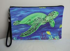 Sea Turtle Pouch Large Cosmetic Bag with by SalvadorKitti on Etsy, $17.98