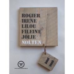 Naambord steigerhout door Wis en Waarachtig #natuurlijk