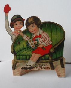 Mechanical Valentine Card! 1920s Made In Germany! Signed From Miss Edith In Pencil! Near Mint Vintage Condition! Bright Colors! On Sale Now! by OldLadyWhite on Etsy