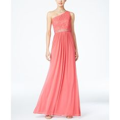 Adrianna Papell Embellished Lace One-Shoulder Gown (£135) ❤ liked on Polyvore featuring dresses, gowns, macy's, french coral, adrianna papell gowns, adrianna papell evening dresses, lace dress, white ball gowns and white sparkly dress