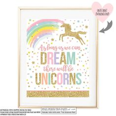 Unicorn Wall Quote Unicorn Party Sign As by PixelPerfectionParty