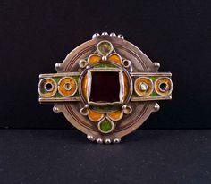 Morocco - vintage silver berber enamel pendant
