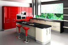tabourets dans une cuisine rouge