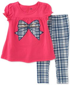 Add some fun to her look with this adorable two-piece short-sleeve tunic & leggings set from Kids Headquarters. Boys And Girls Clothes, American Girl Clothes, Kids Outfits Girls, Baby Kids Clothes, Toddler Outfits, Girl Outfits, Small Girls Dress, Kids Headquarters, Frocks For Girls