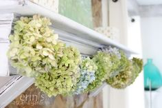 my hydrangea garland ....  easily fashioned with strung twine and some clothespins.  easy is good.