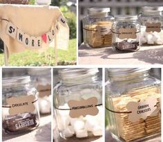 smores bar at bonfire party- maybe use Tupperware instead of glass jars. Another item to look for at St. Bonfire Birthday, Fall Birthday Parties, 16th Birthday, Birthday Ideas, Themed Parties, Happy Birthday, Fall Party Themes, Party Ideas, Event Ideas