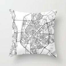 Seville Map, Spain - Black and White Throw Pillow
