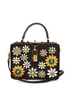 Dolce flower-embellished brocade box bag by Dolce & Gabbana | Shop now at #MATCHESFASHION.COM