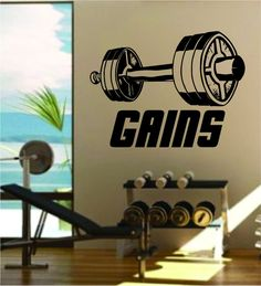 Gains v2 Gainz Quote Fitness Health Work Out Gym Decal Sticker Wall Vinyl Art Wall Room Decor Weights Dumbbell Motivation Inspirational