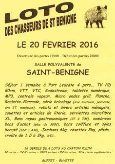 Le loto des chasseurs de Saint-Bénigne est en vue.