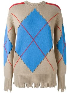 MSGM свитер 'Distressed Argyle'