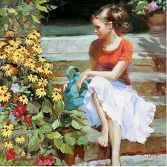 (Russia) by Vladimir Volegov ). born in Chabarovsk, Russia. Amazing Paintings, Classic Paintings, Amazing Art, Woman Painting, Figure Painting, Vladimir Volegov, Double Exposition, Russian Art, Beauty Art
