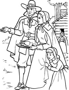 Big Family Thanksgiving Coloring Page
