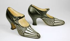 Art Deco shoe English, c. 1925, The stark contrast between light and dark was exploited by many Art Deco designers, artists, and architects in the 1920s and this pair of shoes exemplifies this aesthetic.