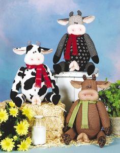 Galinhas, vacas e porcos Padrões de algodão Ginny