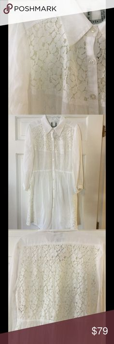 "🆕 Free People ivory sheer lace button down dress This stunning sheer Free People dress has ivory lace insets, a tie back, and buttons down the front. Rayon/cotton/nylon. Machine wash and dry. Underarm across 17"". Length 33"".  Brand new with tag. Retail price $108. Free People Dresses"