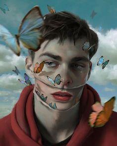 By Aykut Aydoğdu, illustration, painting style Art And Illustration, Illustrations, Portrait Illustration, Surealism Art, Art Visage, Psy Art, Foto Art, Art Moderne, Surreal Art
