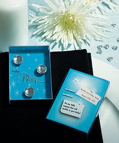 "These ""Fridge Bling"" magnets are a great wedding favors and take-home gifts with a little extra sparkle and are packaged in a cute retro styled fridge gift box. Each box contains 3 magnets as shown.Minimum Order of 2 x 3 H Vegas Wedding Favors, Creative Wedding Favors, Wedding Gifts For Guests, Personalized Wedding Favors, Diamond Wedding Theme, Custom Sticky Notes, Wedding Favor Inspiration, Wedding Ideas, Wedding Shit"