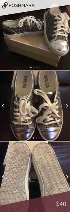 Michael Kors shoes Pre owned Michael Kors shoes. Great condition. Size 4 which is equivalent to a women's size 6. They have the MK all over pattern. They also have silver on them. Great condition. Trade value a lot more. Michael Kors Shoes Sneakers