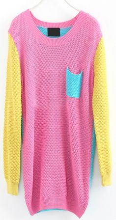 Yellow Long Sleeve Pink Pocket Embellished Pullovers Sweater