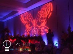 Double Tree Hotel Bay City, room lighting, head table lighting, butterfly image projection on wall