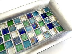 Blue Silver Mosaic Tray, Blue Glass Vanity Tray, Mosaic Candle Tray, Votive Holder Tray, Mosaic Candle Stand, Dresser Caddy, Perfume Caddy
