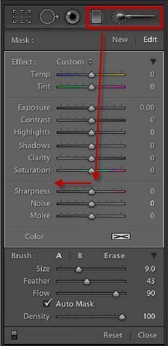 Select either the Brush or the Graduated Filter and reduce Sharpness to -50 or -100 and apply