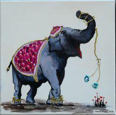 """"""" my elephants """"  20x20 acrylic paint on canvas"""