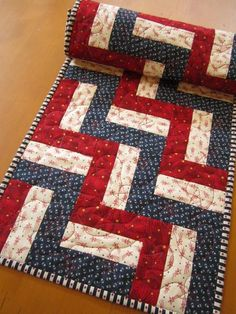 """Quilted Table Runner Patriotic Red and Blue Stars 14 x 40"""""""