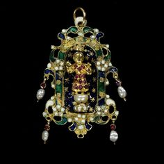 Pendant made in Spain, with figure made in Goa, India, enameled and cast gold set with pearls and garnets, circa 1680-1700