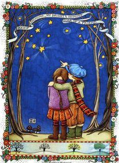 """Keep shining, my bright and shining star of a friend."" ~ art by Mary Engelbreit <> (sun, moon, stars)"