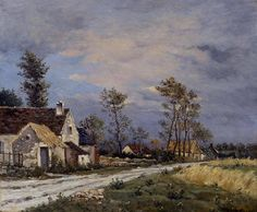"""""""En Samer""""  By Jean-Charles Cazin, French Artist (1841-1901) - oil on canvas; 22 x 26 in - Place of creation: Samer, France (Samer in the Pas-de-Calais department in the Nord-Pas-de-Calais region of France) © Sold through Rehs Galleries. Inc., New York http://www.rehs.com/ https://www.facebook.com/RehsGalleriesInc"""