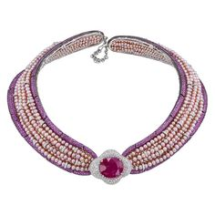 Jahan Important 30 Carat Burma Ruby Pink Sapphire Pearl Diamond Collar Necklace | From a unique collection of vintage choker necklaces at https://www.1stdibs.com/jewelry/necklaces/choker-necklaces/