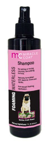 $6.77-$8.99 Foaming Waterless Dog Shampoo by Miracle Coat is a gentle formula that requires no rinsing, Pefectly formulated for touch up between baths or post surgery cleaning