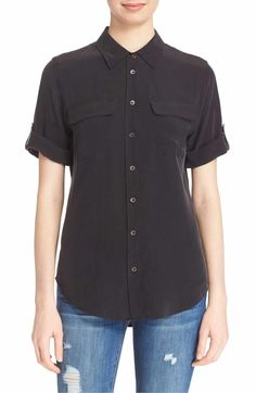 Main Image - Equipment Slim Signature Short Sleeve Silk Shirt