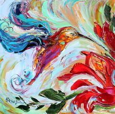 Bird Painting Original impasto abstract Hummingbirds OIL palette knife impsto impressionism fine art impasto by Karen Tarlton