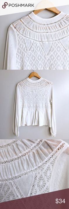 Free People Top White lace and embroidered high neck top. Button on back of neck with keyhole. Blousy sleeve. Peplum bottom. Across the chest 21 inches. Shoulder to hem 24 inches. Free People Tops Blouses