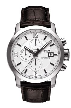 TISSOT PRC 200 MEN'S AUTOMATIC CHRONO WHITE DIAL WATCH WITH BROWN LEATHER STRAP