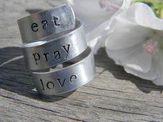 eat, pray, love 3 twist spiral aluminum  1/4 inch