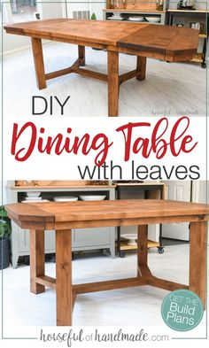 Need more dining space? You are going to love these dining table build plans. The small dining table has 2 leaves that extend the 60 table to a 90 table when you need it. Get the build plans from Housefulofhandmade.com. #DiningTable #DIYTable #WoodWorking Dining Table With Leaf, Diy Dining Table, Leaf Table, Dining Room, Diy Furniture Plans Wood Projects, Diy Home Decor Projects, Woodworking Projects Diy, Log Furniture, Small Dining