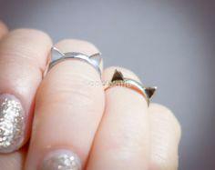 gato anillo anillo, anillo kitty cat, anillo de orejas de gato, nudillo, pinky anillo en oro o plata, anillo de plata esterlina 925 gato
