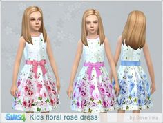 The Sims 4 : Severinka's Kids Floral Rose Dress @ Sims 4 Downloads
