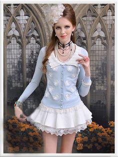 Morpheus Boutique  - Blue Floral Lady Trendy Button Long Sleeve Knit Jacket